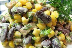 салат кириешки фасоль кукуруза