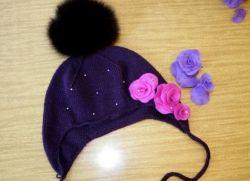 шапка спицами с ушками