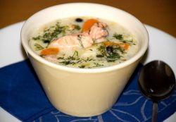 сливочный крем суп с лососем
