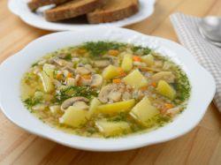 суп из вареных замороженных грибов