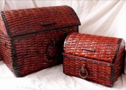 плетение сундука из газетных трубочек