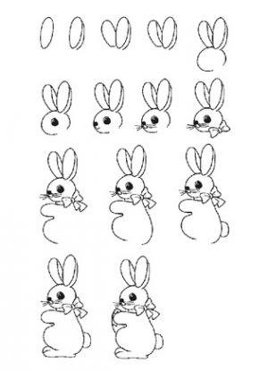 2 рисунок зайца для детей