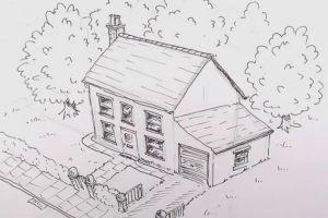 как нарисовать дом 23