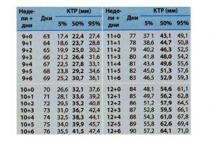 Размер ребенка по неделям беременности таблица