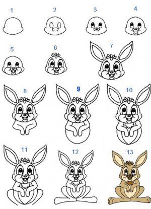 4 рисунок зайца для детей