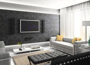 интерьер гостиной с белым полом1