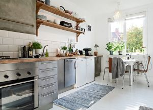 интерьер кухни со светлым полом 2