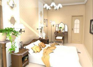интерьер спальни со светлым полом 1
