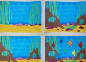 аппликация из цветной бумаги аквариум 5