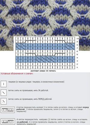 двухцветные узоры спицами 1