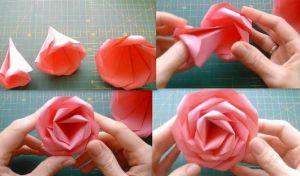 Как сделать розочку из бумаги3