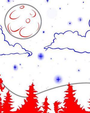 Как нарисовать луну 16
