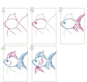 как нарисовать золотую рыбку 1