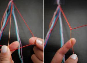 как сделать браслет из ниток4
