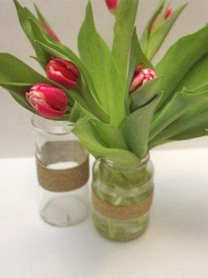 как сделать вазу из банки 1