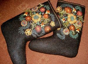 как сделать вышивку на валенках