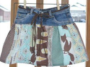 как сшить юбку из джинсов56