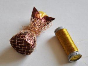 подсолнухи из конфет мастер класс5