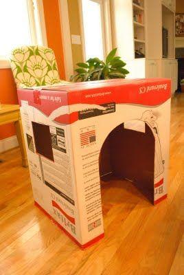 как сделать домик из коробки3