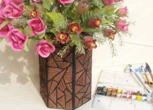как сделать вазу из картона 5