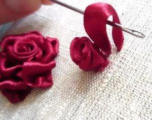 Вышивка лентами розы18
