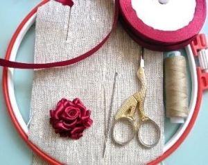 Вышивка лентами розы2