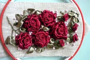 Вышивка лентами розы30