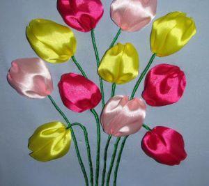Вышивка лентами - тюльпаны11