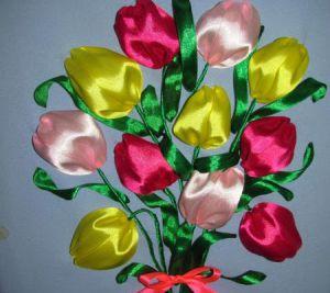 Вышивка лентами - тюльпаны12