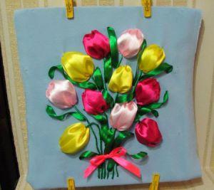 Вышивка лентами - тюльпаны13