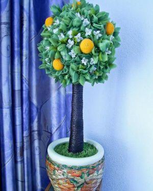 топиарий из цветов и органзы 12