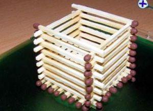 Как сделать поделку без клея из спичек