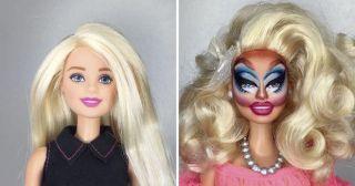 Визажист Марк Джонатан превращает кукол Барби в трансгендеров