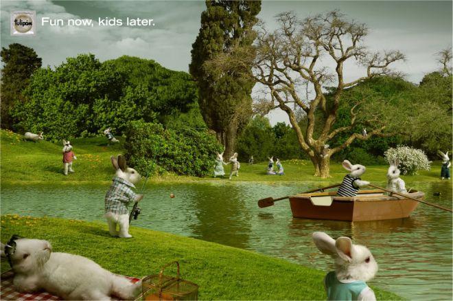 Кролики у озера