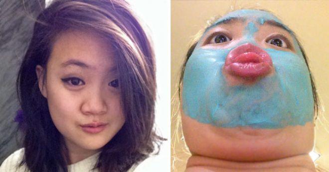 Девушка делает синюю маску