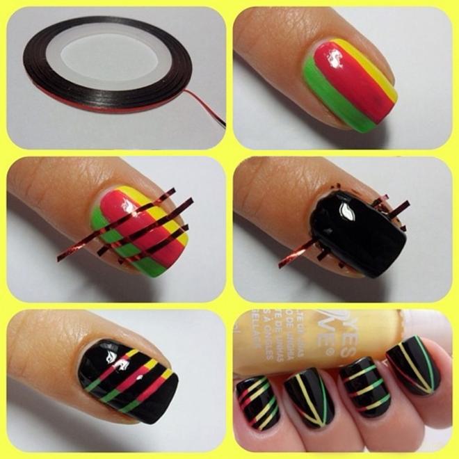 Идеи маникюра с лентами для ногтей фото