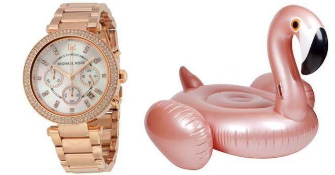 Часы и фламинго цвета розовое золото