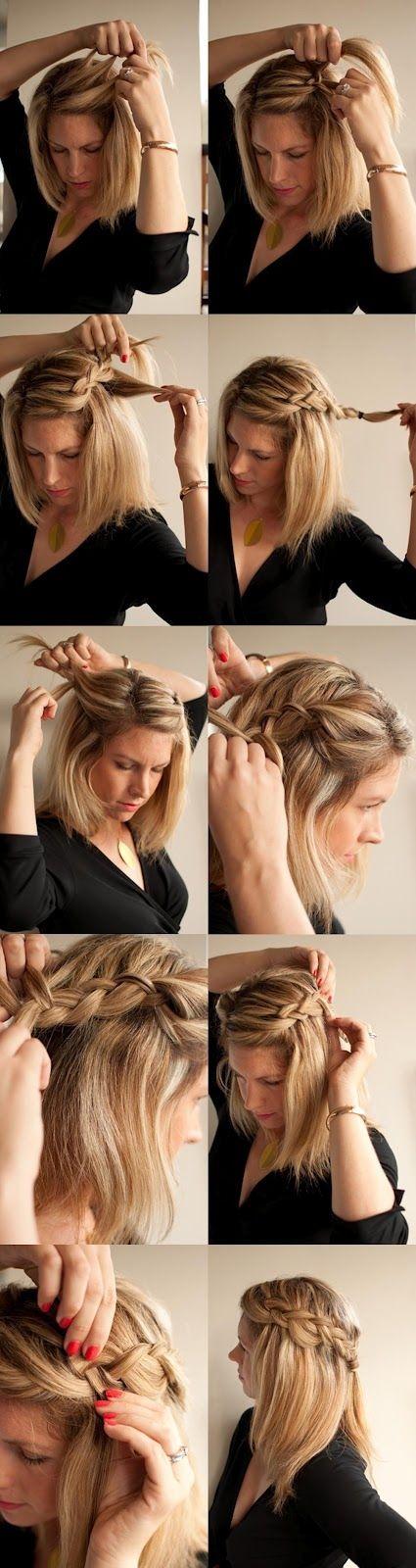 Коса-водопад для волос средней длины