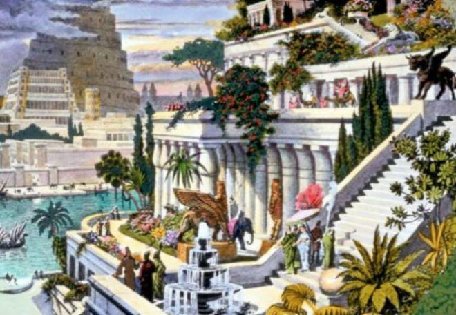Картинка висячих садов Семирамиды
