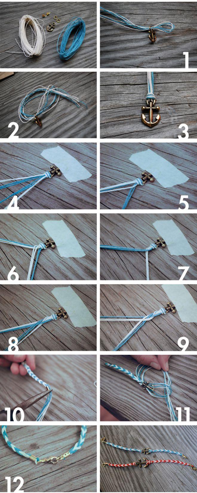 Как сделать браслет своими руками с якорем