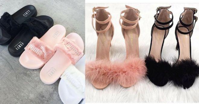 Пушистая обувь
