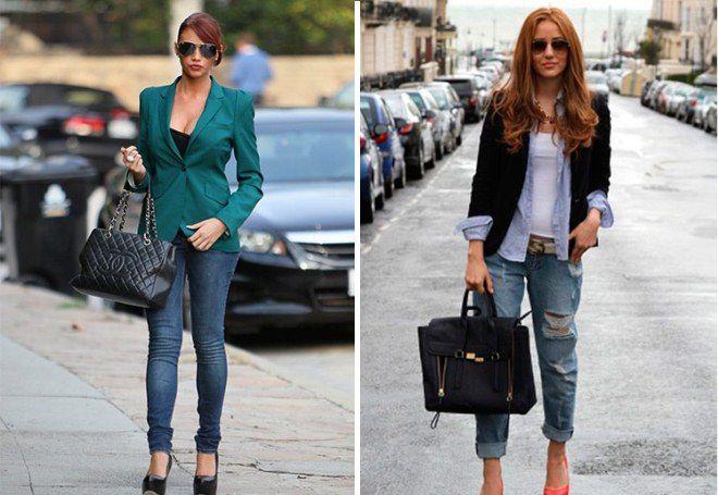Пиджак женский с джинсами