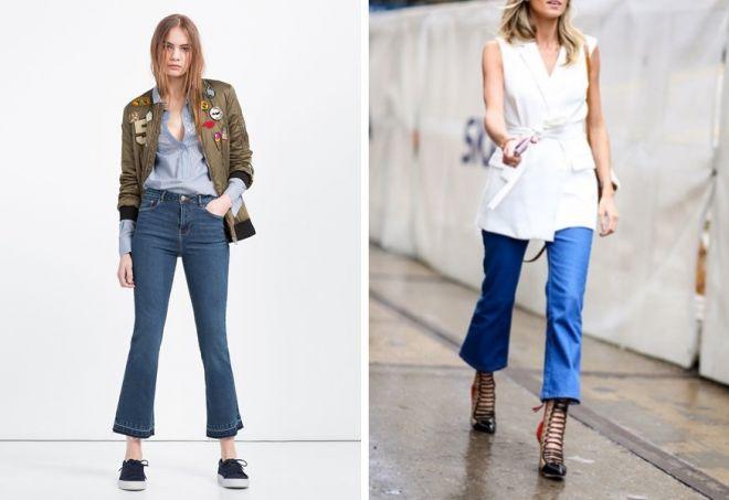Что носить с расклешенными джинсами