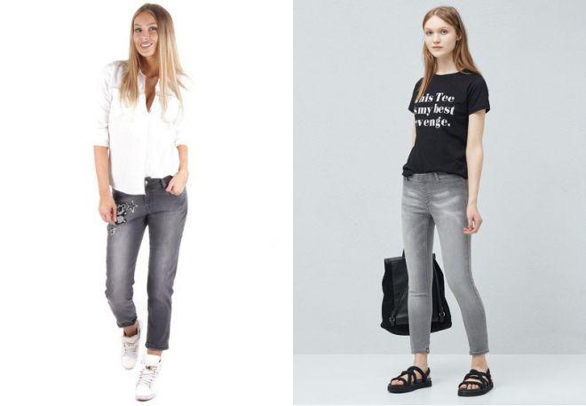 серые джинсы 19