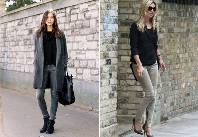 серые джинсы 22