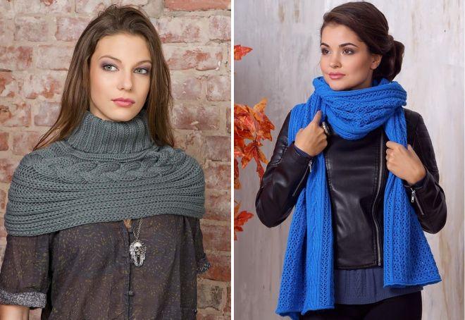 Вязание шарфа широкого