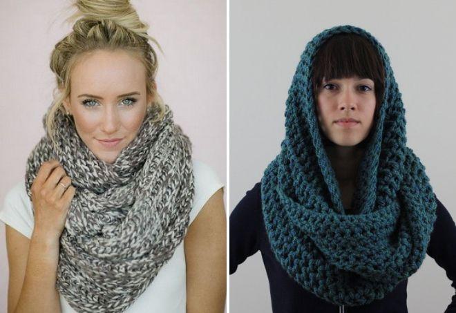 модные шарфы из толстой пряжи