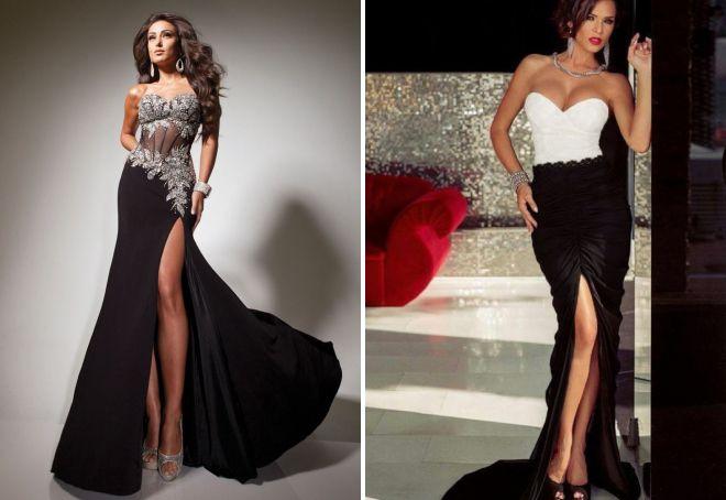 черное платье в пол с корсетом