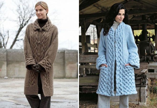 Модные вязанные пальто 2017