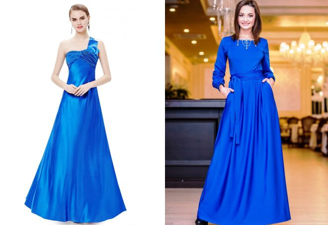 Длинные платья василькового цвета